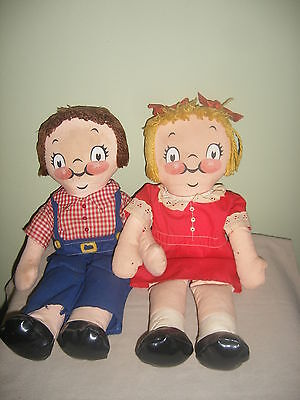 """Vintage Pair 1973 16"""" Stuffed Cloth Campbell Kids - Clothing is removable"""