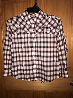 NWT Wrangler Girls Plaid Western Cowgirl Shirt Pearl Snaps Pink SELECT SZ NEW