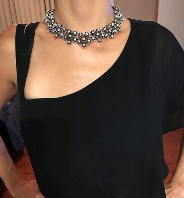 Women Crystal Flower Statement Choker Collar Necklace Fashion Chunky Jewelry