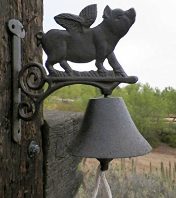 Flying Pig Bell Cast Iron Animals Call Bells Outdoor Pigs Decor Collectibles