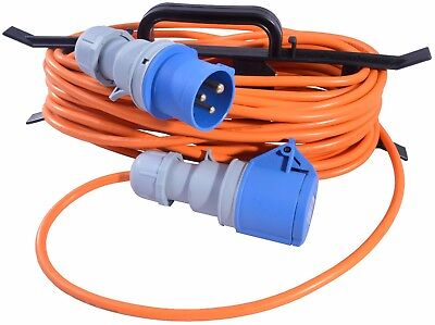 5m Caravan Camping Hook Up Cable 16A Site Extension Lead Orange + Cable Reel