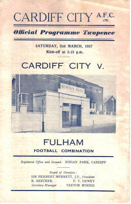 1956/7 Cardiff City reserves v Fulham res, Football Combination, 2 Mar 1957