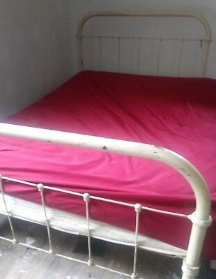 Antique Cast Iron Bed, Vintage Wrought Iron Bed, Full Size, Loop & Pin Rails,