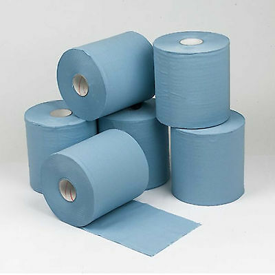 Pack Of 6 Rolls 2 Ply Blue Embossed Centrefeed Rolls Wiper Cleaning Paper Towel