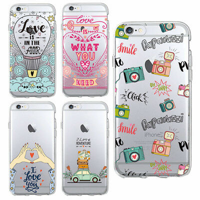 Love Adventure Travel Hot Air Balloon Snap  Soft Case Cover For iPhone 8 Samsung