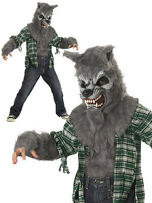 Boys Werewolf Costume Childs Wolf Halloween Fancy Dress Kids Howling Outfit