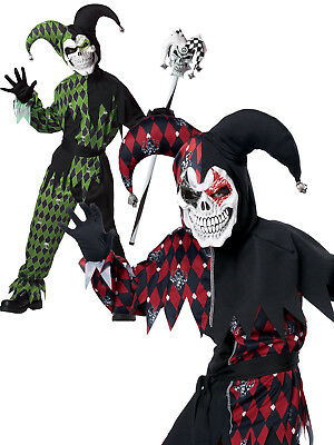 Boys Evil Jester Sinister Clown Costume Halloween Fancy Dress Kids Circus Outfit