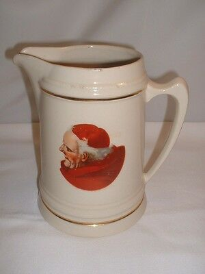 Vintage Hall China Large 2 Quart #406 Monk Pitcher Cream Color With Gold Trim