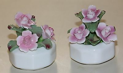 Aynsley China Mini Pair of Roses in White Pots Hand Modelled  Vintage EUC