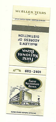 Matchbook Cover First National Bank McAllen's Texas