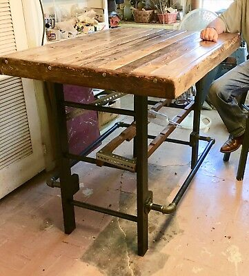 Wine Bar With An  Antique Ladder For Base--Handmade In Usa
