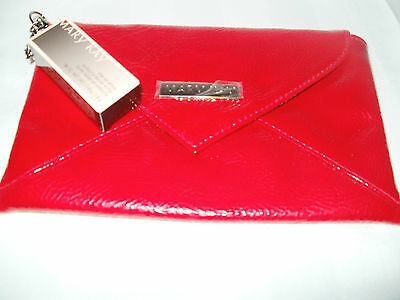 MK.*NEW RED ENVELOPE CLUTCH with NEUTRAL CLIP-ON LIP GLOSS* Lined withAnimalPrin
