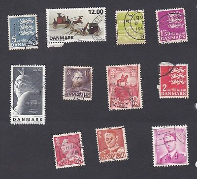 Demark small selection of used postage stamps - see description.