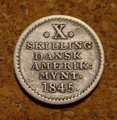*scarce**1845 Silver Key Date 10 Skilling Danish West Indies(Denmark) Nice Coin