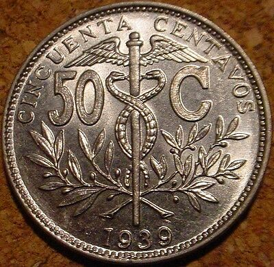 **rare**hi Grade Bu 1939 50 Centavos Bolivia**superb Detailed Coin**