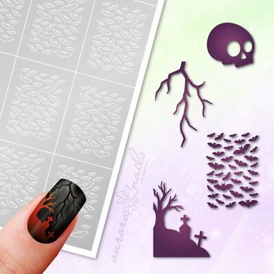 Stencils Airbrush + Nailart Set85 Halloween Autumn Horror Self-Adhesive Set