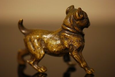 Bronze Bulldog Sculpture Dark Patina Art Deco 1920's Very Fine Detail Statue