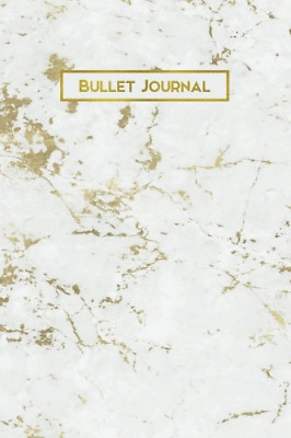 Bullet Journal: Gold Vein White Marble 160 Dot Grid Journaling Pages, 6 x 9 Blan