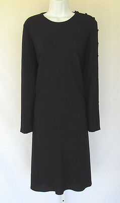 VINTAGE 1980s 90s CYNTHIA HOWIE BLACK DRESS  SIZE 12 POLYESTER FULLY LINED BUTTO