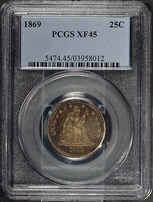 1869 25C Seated Liberty PCGS XF45