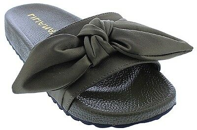 Nomi-7 Women Flip Flop Bow Satin Slide Slip On Flat Sandal Shoe Slipper Olive