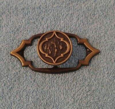 Vintage Amerock 788 Art Deco Brass Drawer Pull Knob & Back Plate Gothic Spanish