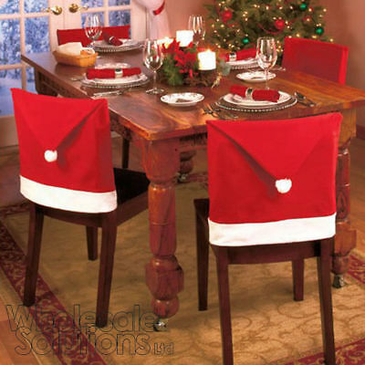 Lovely Santa Christmas Hat Dining Chair Back Covers Party Xmas Table Decoration