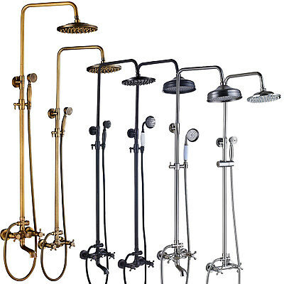 Wall Mount Rain Shower Faucet Hand Shower Sprayer Top Shower Tub Mixer Tap NEW