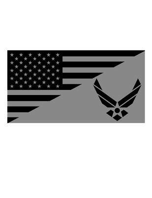 Usa Flag United States Air Force Tactical Vinyl Decal Sticker (Silver/black)