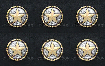"""Set of 6 HORSE TACK ANTIQUE GOLD ROUND ROPE EDGE STAR CONCHOS 3/4"""" screw back"""
