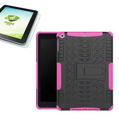 Hybrid Outdoor Cover Pink for Apple Ipad 9.7 2017 Cover+H9 Tempered Glass Case