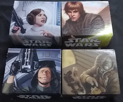 Star Wars LCG FFG Promo Card Boxes, Leia, Luke, General Veers, Zuckuss