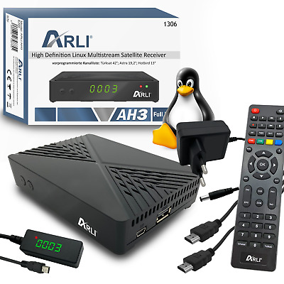 ARLI AH1 HD Sat Receiver inkl. Wifi Stick digitaler Satelliten DVB-S2 HDTV IPTV