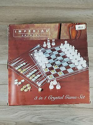 Imperial Crystal 3 In 1 Game Set Chess Checkers Backgammon