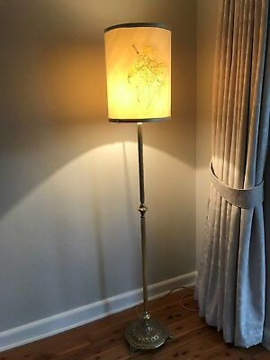 Antique Solid Brass Floor Lamp ~ Silk Shade ~ Australian Theme ~ Beautiful!