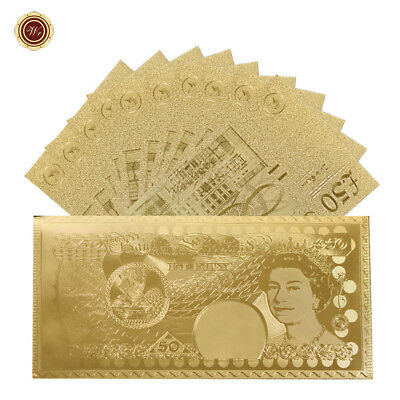 WR 24K Gold British £50 Fifty Pound Banknotes 10pcs In Golden Envelope Xmas Gift