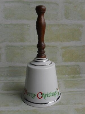 Vintage Wooden Handle - Ceramic Merry Christmas Bell - Christmas