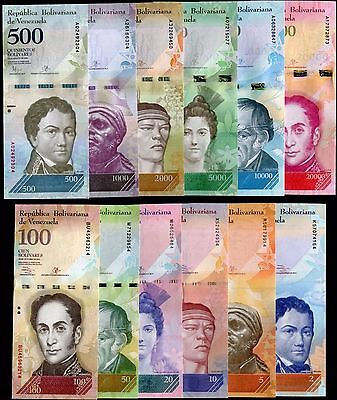 Venezuela 2 To 20000 Bolivares 2007 2016 P New Full Set 12 Pcs Unc