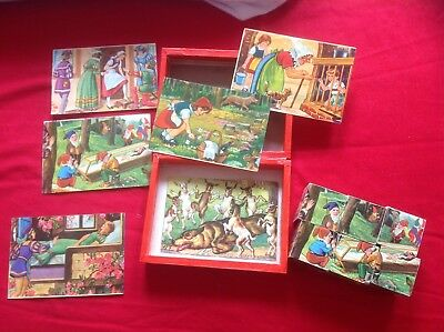 VINTAGE BLOCK JIGSAW, 6 Pieces, Fairytale Pictures, Box And Pictures