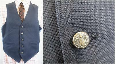 36R S - Vintage 70's Mens Waistcoat Navy Metal Buttons Retro Mod Scooter - C170