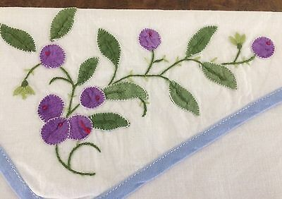 Hand made handkerchief or lingerie case, applique berries