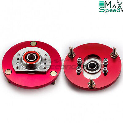 BMW E46 316 318 320 323 325 328 Front Coilover Adjustable Camber Plates RED