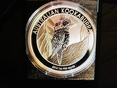 Kookaburra Perth Mint 2014 Limited edition 1 ounce 99.9% pure silver in capsule