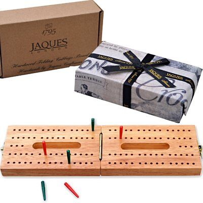 Solid Hardwood Folding Cribbage Board - Complete with Pins Cribbage Travel Set