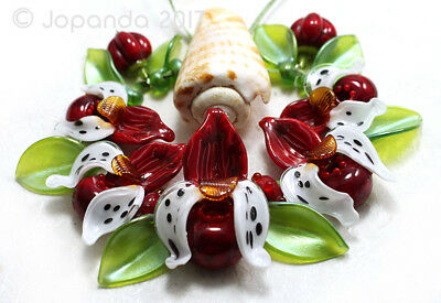 JOPANDA lampwork Glass Beads handmade SRA- Orchid Lady's Slippers Dark Red