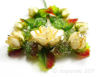 JOPANDA lampwork Beads handmade SRA - Roses light topas & Autumn Leaves