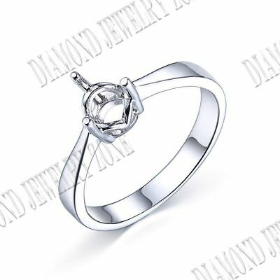Round 6mm Simple And Elegant Prong Setting Round Semi Mount Sterling Silver Ring