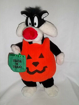 "1997 ACE 14"" Plush Bendable HALLOWEEN SYLVESTER Cat Pumpkin Costume Stuffed Toy"