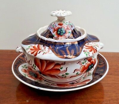 Mid 19thc Victorian Gaudy Welsh/Dutch Sucrier/Sauce Bowl, Cover & Stand