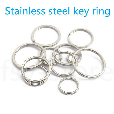 Stainless steel Keyring Split Key Rings  Hoop Ring  elastic Loop 8 mm to 35 mm